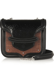 Alexander McQueen The Heroine mini patent-leather, oak and calf hair shoulder bag