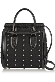 Alexander McQueen The Heroine small studded suede and patent-leather shoulder bag