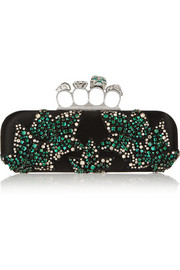 Knuckle Swarovski crystal-embellished satin box clutch