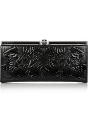 Alexander McQueen Embossed patent-leather clutch