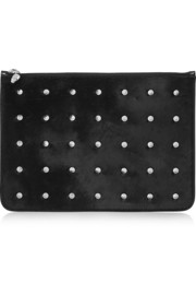 Alexander McQueen Studded calf hair and patent-leather clutch