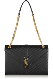 Saint Laurent Monogramme large quilted textured-leather shoulder bag