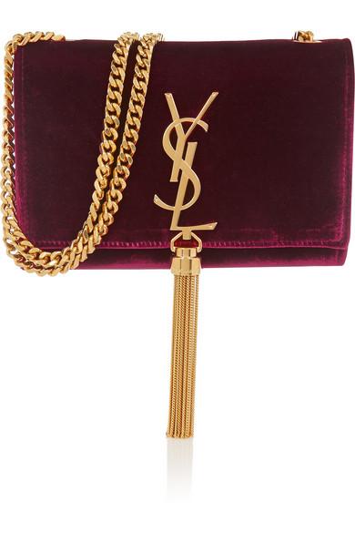 Saint Laurent Monogramme Small Velvet Shoulder Bag Net