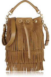 Saint Laurent Seau small fringed suede shoulder bag