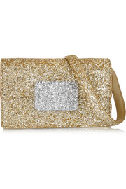 Lulu Bunny glitter-finished leather shoulder bag