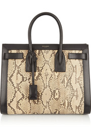 Saint Laurent Sac De Jour small python and leather tote