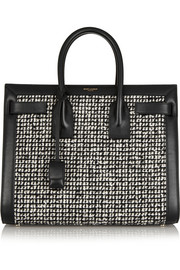 Saint Laurent Sac De Jour small leather and bouclé-tweed tote