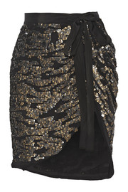 Isabel Marant Felmira embellished silk-georgette mini wrap skirt