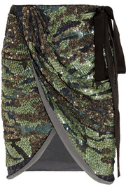 Isabel Marant Elmira sequined silk-georgette mini wrap skirt