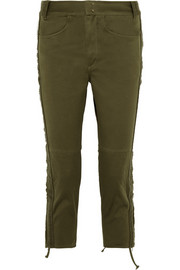 Jessie cotton-twill slim-leg pants