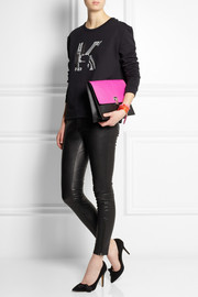 Proenza Schouler Lunch Bag neon python and leather clutch