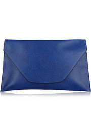 Valextra Envelope large textured-leather clutch