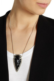 Pamela Love Arrowhead silver obsidian necklace