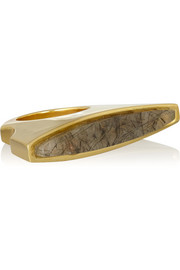 Maiyet Concave gold-plated rutilated quartz ring