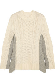 Felted twill-paneled cable-knit wool sweater