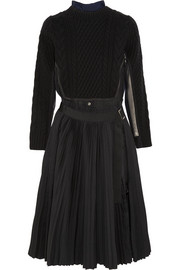 Sacai Cable-knit wool, crepe and chiffon dress
