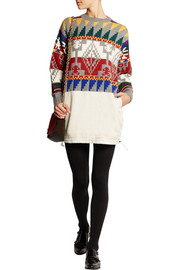 Sacai Intarsia wool-blend sweater dress