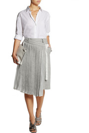 Sacai Pleated chiffon-paneled wool-blend felt shorts