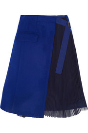 Sacai Wool-felt and pleated chiffon wrap skirt