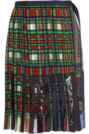 Sacai Vinyl-paneled printed georgette skirt
