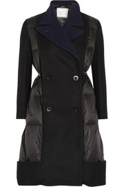 Sacai Wool blend-paneled quilted shell coat