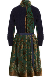 Sacai Cable-knit wool and devoré-velvet dress