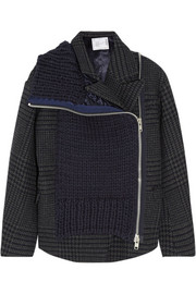 Sacai Wool blend-paneled tweed jacket