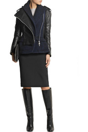 Sacai Wool-blend and leather biker jacket