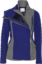 Sacai Paneled wool-blend peplum jacket