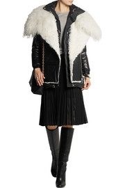 Shearling and leather-paneled quilted shell coat