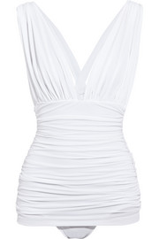 Norma Kamali Slip Bill Mio ruched plunge-front swimsuit