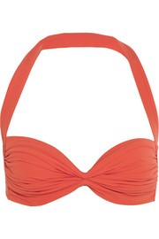 Bill ruched halterneck bikini top