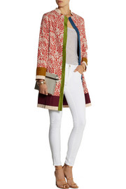 Printed cotton and silk-blend coat