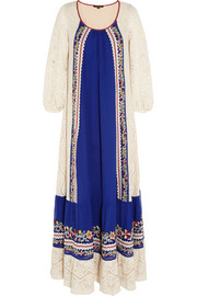 Vineet Bahl Crocheted cotton and embroidered crepe maxi dress