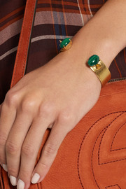 Finds + Ela Stone Gina gold-plated malachite cuff
