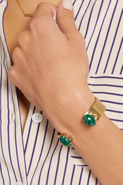 Finds + Ela Stone Liad gold-plated malachite cuff