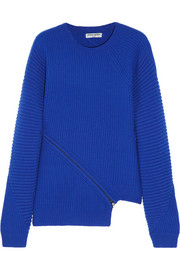 Opening Ceremony Zip-detailed ribbed wool sweater