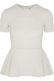 Opening Ceremony Swirl matelassé stretch-jersey peplum top
