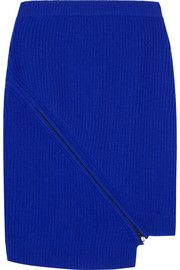 Zip-detailed ribbed wool mini skirt