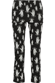 Opening Ceremony Flocked cotton-blend straight-leg pants