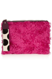 House of Holland The Bag Of Tricks shearling and calf hair clutch