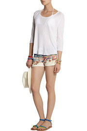 Finds + All Things Fabulous Rio printed cotton-blend terry shorts