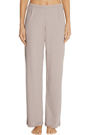 Skin Tulle-trimmed Pima cotton pajama pants
