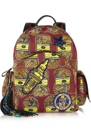 Finds + Atelier Vlisco leather-trimmed printed canvas backpack