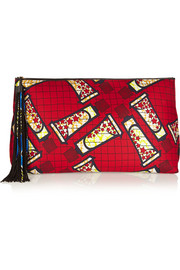 + Atelier Vlisco XXL leather-trimmed printed scuba-jersey clutch