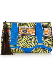+ Atelier Vlisco XL leather-trimmed printed scuba-jersey clutch