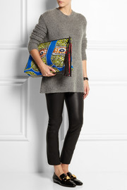 Finds + Atelier Vlisco XL leather-trimmed printed scuba-jersey clutch