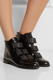 Finds + F-Troupe bow-embellished glossed-leather ankle boots