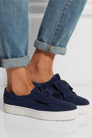 Finds + F-Troupe bow-embellished suede slip-on sneakers