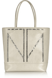 TM Love elaphe-trimmed glossed-leather tote
